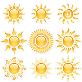 Yellow glossy sun icons collection isolated on white. — Stock Vector