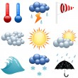 Weather icons set for forecast web pages. EPS10 file. — Stock Vector