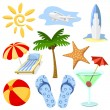 Stock Vector: Summer and travel symbols vector set.