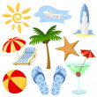 Summer and travel symbols vector set. — Stock Vector