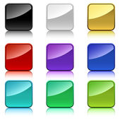 Blank color square buttons with rounded corners. — Stock Vector