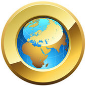 Globe button rimmed with golden glossy frame isolated on white. — Stock Vector