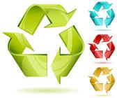 Icono de vector de reciclar brillante 3d — Vector de stock