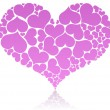 Big pink heart shape comprised by smaller ones. — Stock Vector