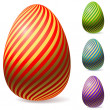 Color Easter eggs with golden stripes. — Stock Vector