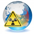 Stock Vector: Earth globe with radiation hazard sign