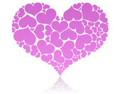 Big pink heart shape comprised by smaller ones. — Vector de stock