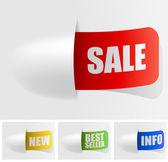 Sada barevný nákupní prodej značky. — Stock vektor