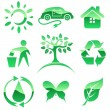 Glossy green vector icons. Nature protection symbols. — Imagen vectorial