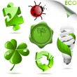 Stock Vector: Set of 3D eco symbols isolated on white.