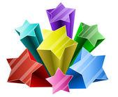 Rafale de star 3d coloré avec espace copie blanche. — Vecteur