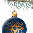 Christmas ball hanging on blue spruce branch isolated on white b — Stock Vector