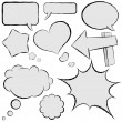 Collection of comic speech bubbles in hand drawn style. — Stock Vector
