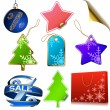 Stock Vector: Winter sale tags isolated on white background.