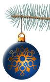 Bola de navidad colgando de la rama de abeto azul aislado en blanco b — Vector de stock