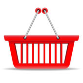 Empty red shopping basket vector icon isolated on white backgrou — Stock Vector