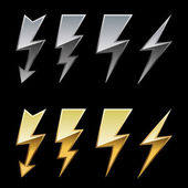 Chrome and golden lightning icons isolated on black background. — Stock Vector