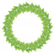 Green leaves round frame isolated on white. — Stock Vector