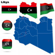 Libya vector set. Detailed country shape with region borders, fl — Stock Vector