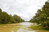 The ditch around Angkor Thom (ancient royal city). Siem Reap, Ca — Stock Photo