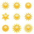 Yellow sun vector icons isolated on white background. — Stock Vector