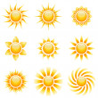 Stock Vector: Yellow sun vector icons isolated on white background.