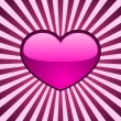 Stock Vector: Glossy pink heart over radial stripes.