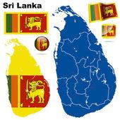 Sri Lanka vector set. Detailed country shape with region borders — Stock Vector
