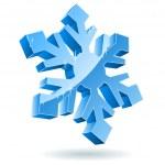 3D Vektor-Schneeflocke isoliert auf weißem Hintergrund — Stockvektor