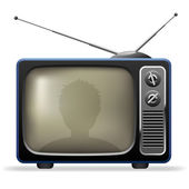 Retro TV set with viewer reflection. — Stock Vector