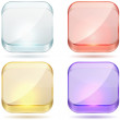 Bright color glass rounded square buttons. — Stock Vector