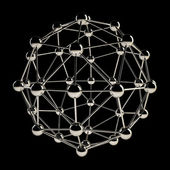 Sphere wireframe chrome structure — Stock Photo