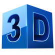 Blue cubic 3D video format sign — Stock Vector