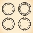 Stock Vector: Blank vintage round quality labels vector illustration.
