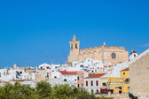 Cityscape of Ciutadella old town with old cathedral domination — Stock Photo