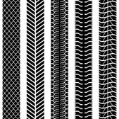 Zwart-wit naadloze vrachtwagen band tracks sjabloon. — Stockvector