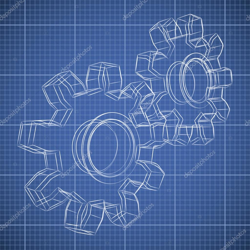 3d Gear Wheel Sketch Drawing On Blueprint Background Stock Vector Tuulijumala 30825105