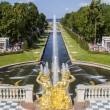 Peterhof palace park main channel with fountains, Saint-Petersbu — Stock Photo