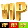 Golden VIP abbreviation isolated on white with color background  — Stock Vector