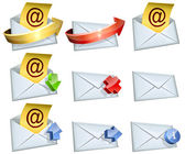 Email icons vector set isolated on white background. — Stock Vector