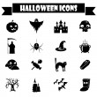 Black and white Halloween vector icons set. — Stock Vector