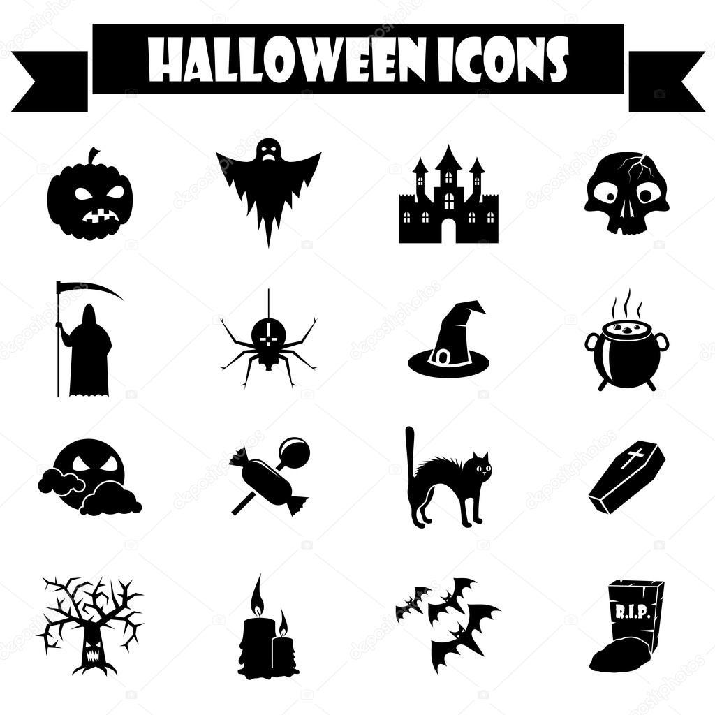 Halloween Vectors several great pumpkins to celebrate halloween Black And White Halloween Vector Icons Set Vector By Tuulijumala