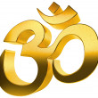Stock Photo: 3D gold hindu sign isolated on white background.