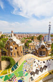 View on Barcelona from the Park Guell main terrace, Spain. — Stock Photo