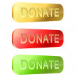 3D rounded glossy donate buttons isolated on white background. — Stock Vector