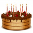 Birthday cake with candles isolated on white background vector i — Stock Vector
