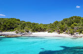Cala Turqueta beach in sunny day, Menorca island, Spain. — Stock Photo