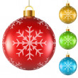 Blank colorful Christmas balls with snowflake pattern isolated o — Stockvector