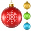 Blank colorful Christmas balls with snowflake pattern isolated o — Wektor stockowy
