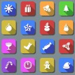 Color Christmas plain vector icons with shadow effect. — Vektorgrafik